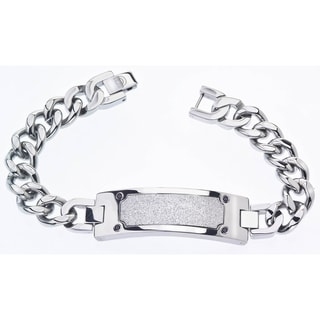 Stainless Steel Men's Black Diamond Accent Bracelet