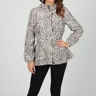 Hawke & Co Women's Grey Leopard Print Anorak