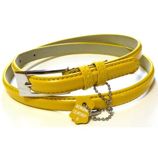 Women's Yellow Patent Leather Skinny Belt