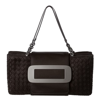 Bottega Veneta &#39;Shadow&#39; Black Intrecciato Jersey Bag