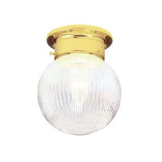 Livex Lighting 1-light Polished Brass Art Glass Flush Mount Globe