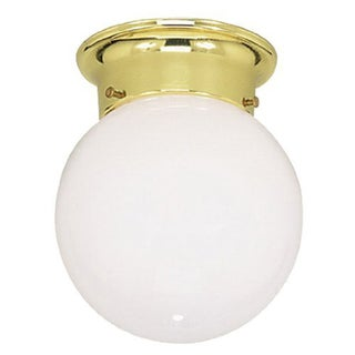 Livex Lighting 1-light Polished Brass Opal Glass Flush Mount Globe