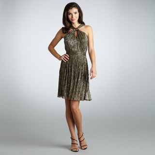 Muse Women's Gold Shimmery Twisted Neck Dress