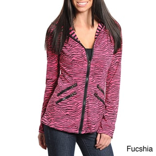 Stanzino Women&#39;s Animal Print Zip-up Hooded Jacket