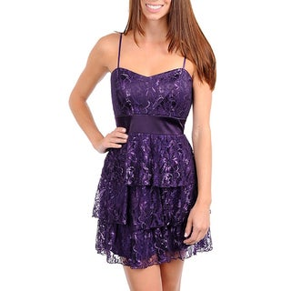 247 Frenzy Junior's Purple Lace Spaghetti Strap Dress