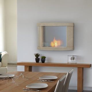 Real Flame 'Meridian' Cream Speckle Wall Fireplace