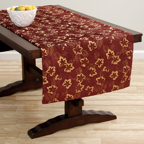 Extra Wide Italian Woven 95x26-inch Red/ Gold Table Runner