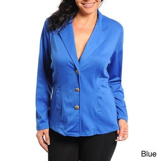 Stanzino Women's Plus Size Button Front Blazer