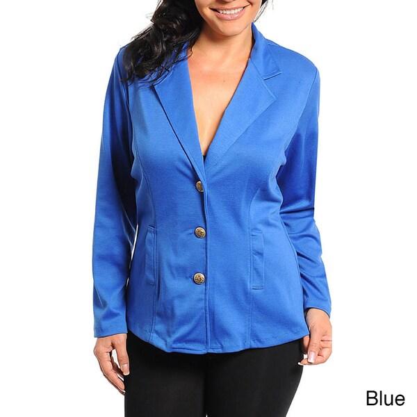 Stanzino Women's Plus Size Button Front Blazer