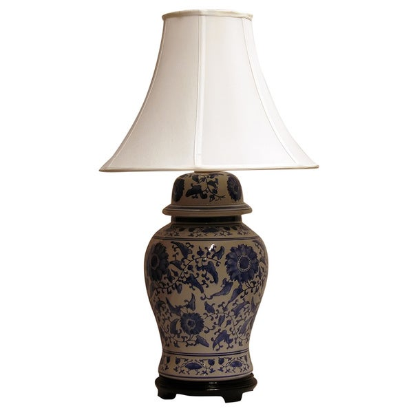 lighting 1 light vibrant cobalt blue ceramic ginger jar table lamp. Black Bedroom Furniture Sets. Home Design Ideas
