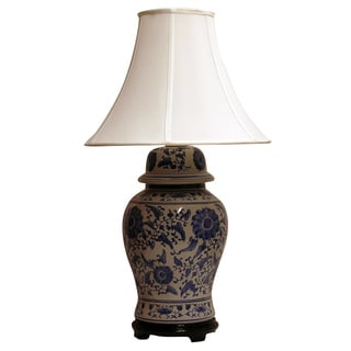 Blue and White Canton Ginger Jar One-Light Table Lamp