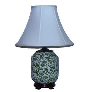 Green Floral Scroll on Cream Table Lamp