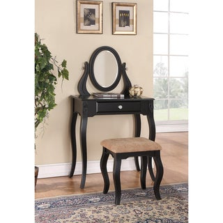 Black One-Drawer Vanity With Stool