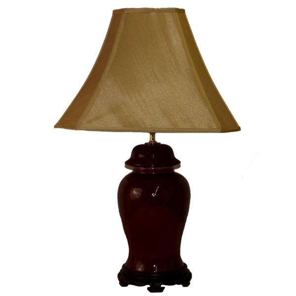 Large Oxblood Covered Ginger Jar Table Lamp
