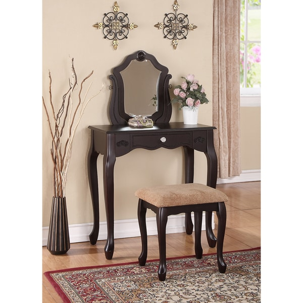 Espresso One-Drawer Vanity and Stool Set