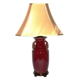 Tall Oxblood with Fruit Handles Table Lamp