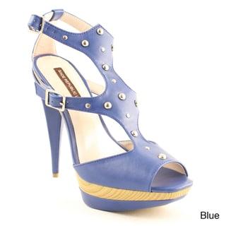 Shoe Republic Women's 'Quatro' Grommet Studded Peep-toe Heels