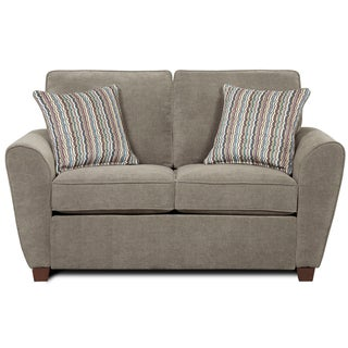 Newport Furniture 'Hobbs' Grey Chenille Loveseat with Pillows