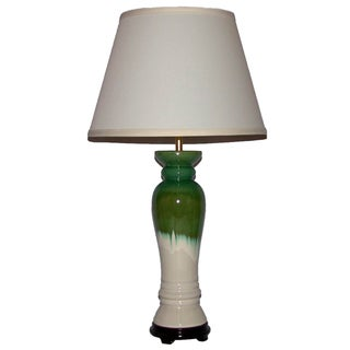 White with Green-and-Blue Drip Column Ceramic Table Lamp