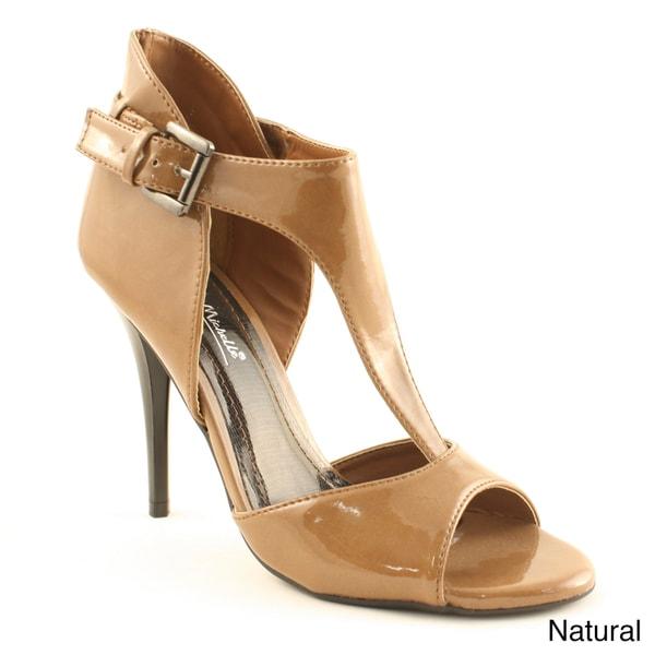 Anne Michelle Women's 'Hype-01' T-strap Open Toe Heels