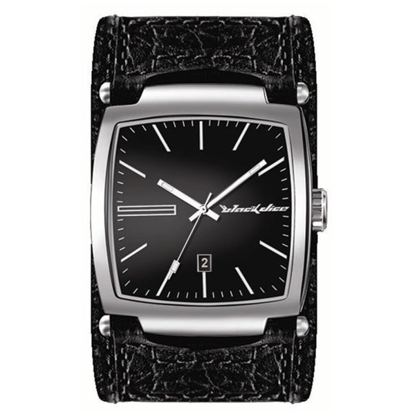 Black Dice Men's 'Flow' Black Leather Quartz Watch