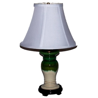 White with Green and Blue Drip Column Table Lamp