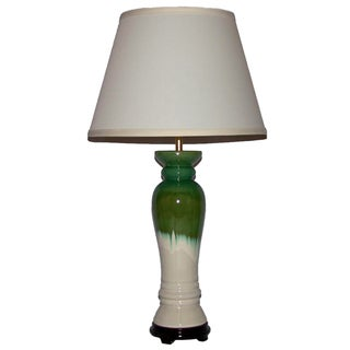 One-Light White with Green-and-Blue Drip Column Table Lamp