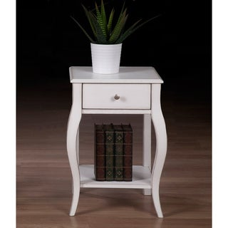 Alexandra Brush White 1-drawer Nightstand