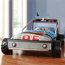Kiran Toddler's Silver Race Car Twin-size Platform Bed