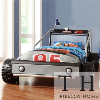 Tribecca Home Kiran Toddler's Silver Race Car Twin-size Platform Bed