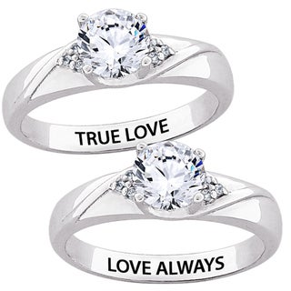Sterling Silver CZ 'TRUE LOVE' or 'LOVE ALWAYS' Engraved Ring
