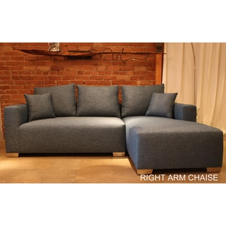 Decenni Custom Furniture 'Romeo' Blue Compact Sectional Sofa