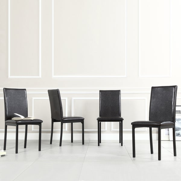 TRIBECCA HOME Darcy Espresso Metal Upholstered Dining Chair (Set of 4)