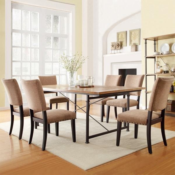 TRIBECCA HOME Presidio Rustic Brown Vintage Industrial Modern 7-piece Dining Set