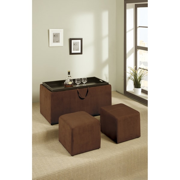 Dillard Chocolate Microfiber 3-piece Cocktail Ottoman Set