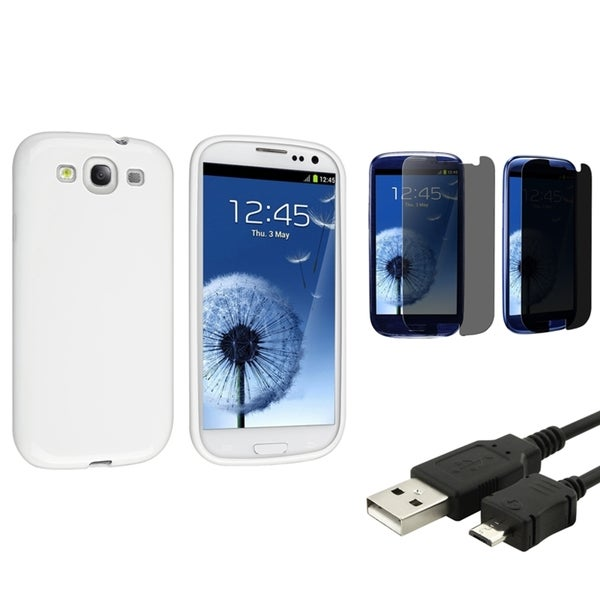INSTEN Phone Case Cover/ USB Cable/ Privacy Protector for Samsung Galaxy S III/ S3