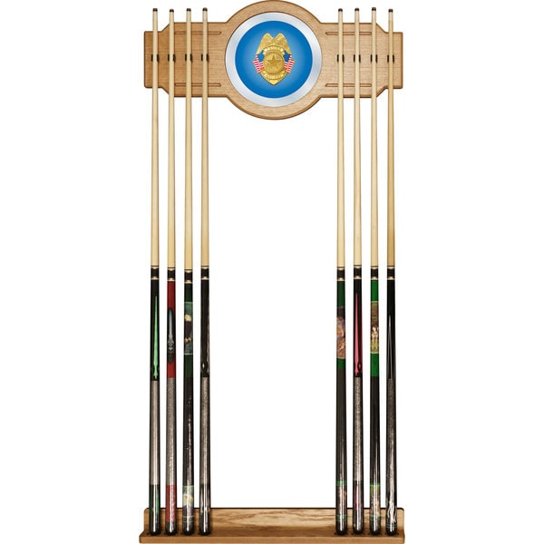 Police Officer Billiard Cue Rack with Mirror