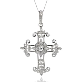 Journee Collection Sterling Silver Cubic Zirconia Cross Necklace