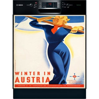 Appliance Art Vintage Ski Austria Dishwasher Cover