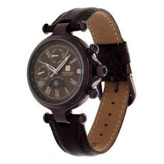 Steinhausen Women's Three Eyes Stainless Steel Coffee Leather Strap Watch