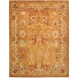 Safavieh Hand-made Anatolia Straw Beige/ Ivory Hand-spun Wool Rug (9' x 12')
