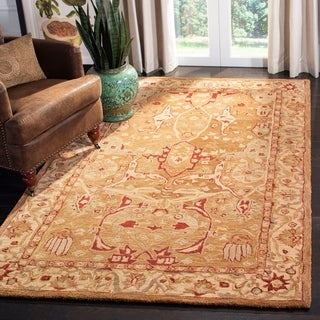 Safavieh Hand-made Anatolia Straw Beige/ Ivory Hand-spun Wool Rug (4' x 6')