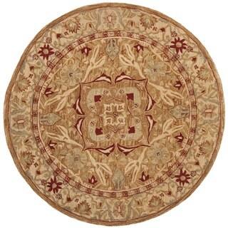 Safavieh Hand-made Anatolia Straw Beige/ Ivory Hand-spun Wool Rug (4' Round)