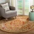 Hand-made Anatolia Straw Beige/ Ivory Hand-spun Wool Rug (6&#39; Round)
