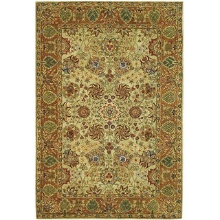 Hand-made Anatolia Green/ Gold Hand-spun Wool Rug (9'6 x 13'6)