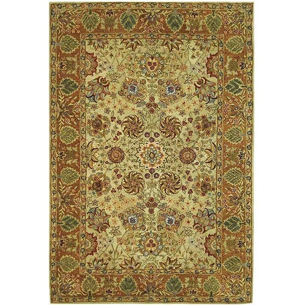Safavieh Hand-made Anatolia Green/ Gold Hand-spun Wool Rug (9'6 x 13'6)