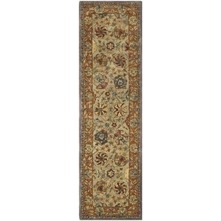 Safavieh Hand-made Anatolia Green/ Gold Hand-spun Wool Rug (2'3 x 10')