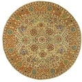 Hand-made Anatolia Green/ Gold Hand-spun Wool Rug (8' Round)