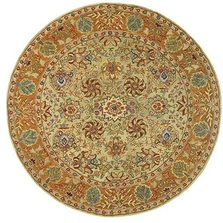 Safavieh Hand-made Anatolia Green/ Gold Hand-spun Wool Rug (8' Round)