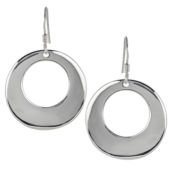 Journee Collection Sterling Silver Open Circle Earrings